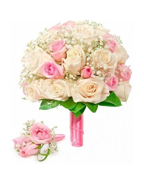 Bouquet of roses: cream and pink: delivery of flowers in