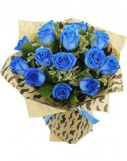 Bouquet of 15 blue roses | Blue flowers