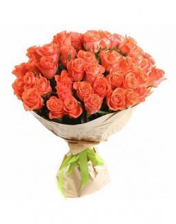 Bouquet of 51 carrot roses | Roses to mother,to fiancee flowers