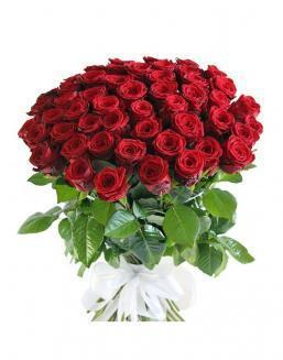 Bouquet of 51 red rose bushes | Roses to mother,to fiancee flowers