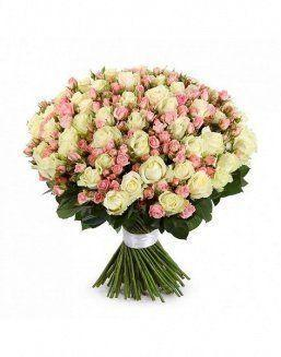 Mix bouquet of 25 white/pink spray roses | Delivery and order flowers in Kostanay