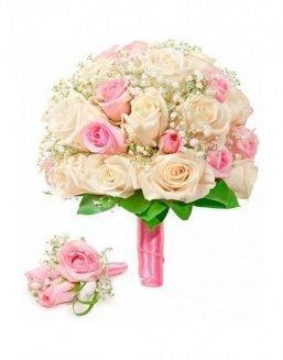 Bouquet of roses: cream and pink | Delivery and order flowers in Kostanay