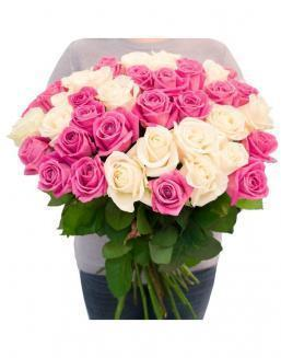 Bouquet of roses: white and pink | Delivery and order flowers in Kostanay