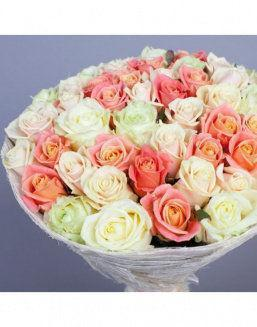 Gift Grace set of cream and carrot roses | Roses to mother,to colleague flowers
