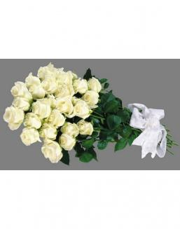 Bouquet of 25 white Dutch roses | Roses to men,to mother flowers