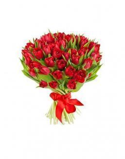 Bouquet of 51 red tulips | Delivery and order flowers in Kostanay