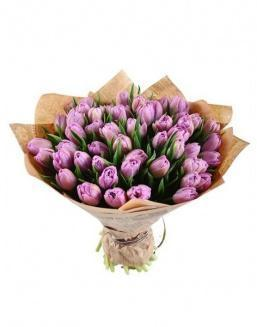 Bouquet of 51 violet tulips | Delivery and order flowers in Kostanay