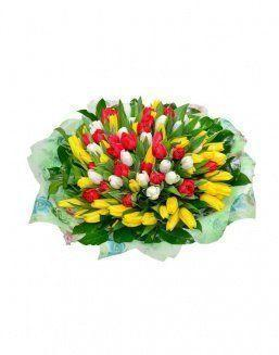 Mix bouquet 101 tulips | Delivery and order flowers in Kostanay