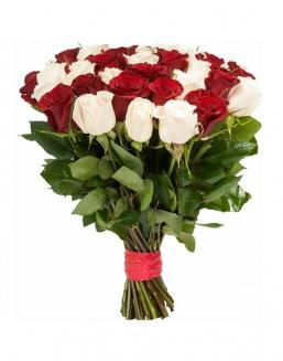 Bouquet of 33 red and white roses mixed | Roses to mother,to colleague flowers