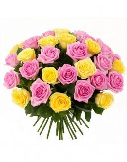 Bouquet mix of 33 pink and yellow roses | Roses to mother,to fiancee flowers