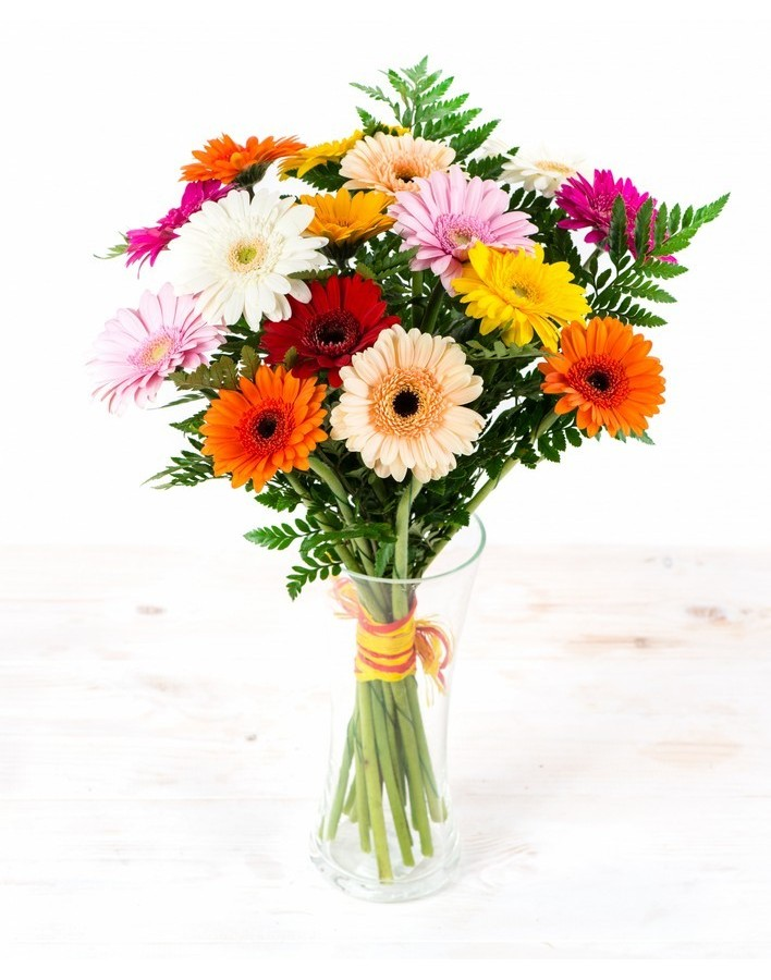 Bouquet of 25 bright gerberas